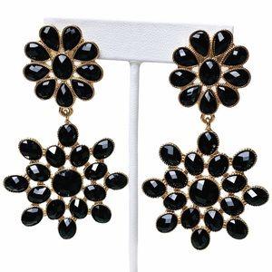 Amrita Singh Black & Gold Resin Flower Earrings